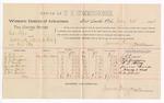 1888 July 24: Voucher, U.S. v. Ed Fry, assault with intent to kill; includes cost of per diem and mileage; J.A. Reeves, G.L. Durggins, W.L. Cherry, James Woods, Henry Hart, J.M. Barton, witnesses; John Carroll, U.S. marshal; James Brizzolara, commissioner