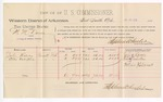 1888 July 30: Voucher, U.S. v. W.M. Danes, larceny; includes cost of per diem and mileage; John Harvey, Ellis Valentine, witnesses; John Carroll, U.S. marshal; Stephen Wheeler, commissioner