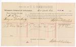 1888 July 31: Voucher, U.S. v. W.M. Dane, larceny; includes cost for per diem and mileage; J.J. Lowe, witness; John Carroll, U.S. marshal; Stephen Wheeler, commissioner