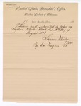 1888 August 16: Letter, from Stephen Wheeler, clerk; Ed Haglin, deputy clerk