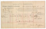 1888 August 21: Voucher, U.S. v. Hill Burnett, larceny; includes cost of per diem and mileage; J.W. Love, Paul Cravens, witnesses; John Carroll, U.S. marshal; James Brizzolara, commissioner