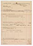 1888 July 11: Voucher, U.S. v. Bud Burger, larceny; includes cost of mileage and feeding prisoner; B. Connelley, deputy marshal; E.B. Harrison, commissioner; Richard Burke, posse comitatus