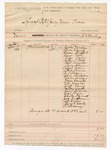 1888 October 17: Voucher, includes cost of bringing in all 24 jurors; Jackson Mushou, Jerry Clawdy, Isaac Campbell, Louis Miles, Thomas Trotter, Arthur T. Foote, Robert Arington, Green Hogan, Patrick Bruce, E.T. Pogue, Sam Quilius, Martin Bridges, Moses Dansby, W.N. Jacobs, Weston Young, Mathew Smith, George T. Sharks, Neal Pryor, Wharton Carnall, Jack Fullman, J.B. Griffin, Farrell Dailey, and P.T. Devany, jurors; J.K. Barling, deputy marshal
