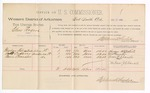 1888 December 17: Voucher, U.S. v. Charles Rogers, larceny ; includes cost of per diem and mileage; Theodore Fitzpatrick, Geoff Copper, and Boon Chandler, witnesses; J. Carroll, witness of signatures and U.S. marshal; Stephen Wheeler, commissioner