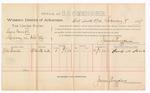 1889 February 9: Voucher, U.S. v. Lewis Corrett, larceny ; includes cost of per diem and mileage; J.M. Seus, witness; John Carroll, U.S. marshal; James Brizzolara, commissioner