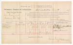 1889 February 19: Voucher, U.S. v. Lewis Brewer, et al., murder ; includes cost of per diem and mileage; J.C. Moran, Addie Moran, and W.D. Alcorn, witnesses; John Carroll, U.S. marshal; James Brizzolara, commissioner