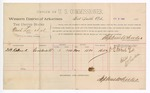 1889 April 8: Voucher, U.S. v. Newt Lee et al., larceny; includes cost of per diem and mileage; D.B. Robuck, witness; E.H. Crooens, witness of signature; Stephen Wheeler, commissioner; John Carroll, U.S. marshal