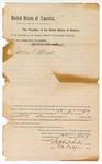 1889 August 23: Venire facias, commanding the summons of James R. Blunt, as juror; Stephen Wheeler, clerk; J.M. Dodge, deputy clerk; Jaccob Yoes, U.S. marshal; John Williams, deputy marshal