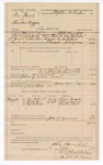 1889 July 9: Voucher,  U.S. v. Tom French and Sheridan Huggins, larceny;  includes cost of mileage and feeding prisoners; Able Barnhill, deputy marshal; Jacob Yoes, U.S. marshal; J.A. McClure, posse comitatus; Oliver French, Silas James, Martin Bird, witnesses; Stephen Wheeler, clerk; I.M. Dodge, deputy clerk