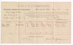 1889 May 11: Voucher,  U.S. v. Sam Rinker et al., introducing spiritous liquor; includes cost of per diem and mileage; Julia Oaks, R.R. Archer, witnesses; Jacob Yoes, U.S. Marshal