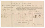 1889 May 13: Voucher, U.S. v. William Brown, introducing spiritous liquor; includes cost of per diem and mileage; William Thornbraugh, George Thornbraugh, James Bailey, witnesses; J.C. Pettigrew, witness of signatures; Jacob Yoes, U.S. marshal; James Brizzolara, commissioner