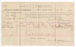 1889 May 15: Voucher, U.S. v. One Hockey, introducing spiritous liquor; David Sizemore, Albert Burgess, witnesses; Jacob Yoes, U.S. marshal; James Brizzolara, commissioner; includes cost of per diem and mileage