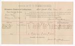 1889 May 13: Voucher, U.S. v. James Ellis, larceny; includes cost of per diem and mileage; Edmund Harry, Monday Cat, Ceaser Jack, witnesses; Jacob Yoes, U.S. marshal; James Brizzolara, commissioner