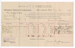 1889 May 30: Voucher, U.S. v. Jack Smith, larceny; includes cost of per diem and mileage; William Dillahunter, Samuel McClish, Edward Givens, James Hearker, witnesses; Jacob Yoes, U.S. marshal; James Brizzolara, commissioner; William H.H. Clayton, district attorney