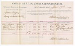 1889 June 17: Voucher, U.S. v. James Gregory, larceny; includes cost of per diem and mileage; Alexander Rogers, J.W. Cole, William Badle, George W. Meadowns, witnesses; Stephen Wheeler, commissioner; Jacob Yoes, U.S. marshal