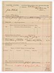 1889 July 10: Voucher, U.S. v. John Black, larceny; includes cost of mileage and feeding prisoner; B. Connelley, deputy marshal; E.B. Harrison, commissioner
