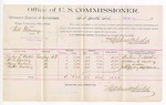 1889 June 18: Voucher, U.S. v. Will Flannery, introducing spirituous liquors; includes cost of per diem and mileage; Reuben L. Martin, William G. Bowling, Henry Wallace, Walter Bowling, witnesses; R.B. Creekman, witness of signatures; Stephen Wheeler, commissioner