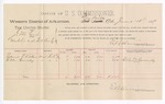 1889 June 18: Voucher, U.S. v. J.M. Cox, violation of internal revenue laws; includes cost of per diem and mileage; Edward P. Vickers, Allen Canady, witnesses; E.B. Harrison, commissioner; Jacob Yoes, U.S. marshal