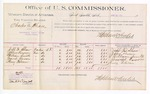 1889 June 18: Voucher,  U.S. v. Charles A. Chase, introducing spirituous liquors; includes per diem and mileage cost; Jeff D. Shaw, James Burson, William Smith, David Burson, Henry Falconer, witnesses; Jacob Yoes, U.S. marshal; Stephen Wheeler, commissioner; William H.H. Clayton, attorney