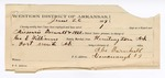 1889 July 20: Voucher, U.S. v. Missouri Boswell, Horace Boswell, H.B. Gatlin, W.S. Lafayette, selling spiritous liquors without paying special tax; George E. Williams, deputy marshal; Jacob Yoes, U.S. marshal; G.W. McCowan, John Tucker, Sam Williams, A.S. Barnhill, W.S. Gammell, witnesses; Able Barnhill, guard; includes cost of mileage and feeding prisoner; Stephen Wheeler, commissioner; I.M. Dodge, deputy clerk