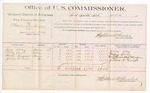 1889 June 27: Voucher, U.S. v. Charles Sandrum, assault with intent to kill; includes cost of mileage and corn for horse; Jerry Riley, Riley Curls, Horace Tinnin, Julius P. Curls, witnesses; R.B. Creekman, witness of signatures; Jacob Yoes, U.S. marshal; Stephen Wheeler, commissioner