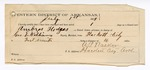1889 July 6: Voucher, U.S. v. Ambrose Hodges, larceny; includes cost of mileage and feeding prisoner; George E. Williams, deputy marshal; Stephen Wheeler, commissioner; One Mitchell, William Reinhart, Jane Kirby, Frank Shaw, witnesses; Perkins Walker, guard