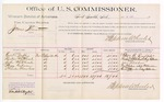 1889 July 04: Voucher, U.S. v. James Thornton, larceny; includes cost of per diem and mileage; George B. Duffin, Reuben Whitehead, John Whitehead, Posey Gibson, Charles Chambers, witnesses; Jacob Yoes, U.S. marshal; Stephen Wheeler, commissioner; William H.H. Clayton, district attorney