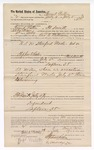 1889 July 28: Voucher, to Frank Patten, of Fort Smith, Arkansas, for assisting Jacob Yoes, U.S. marshal, in U.S. v. Standford Wade, introducing spiritous liquors; George E. Williams, deputy marshal; Stephen Wheeler, clerk; I.M. Dodge, deputy clerk