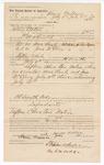 1889 July 6: Voucher, to Henry Wallace for assisting Jacob Yoes, U.S. marshal, in U.S. v. More Lemly, introducing spiritous liquor and U.S. v. Jesse McElroy, introducing spirituous liquors; W.H. Arnold, deputy marshal; Stephen Wheeler, clerk; I.M. Dodge, deputy clerk