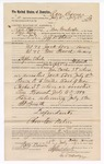 1889 July 13: Voucher, to Race Barnes, Cowlington, Choctaw Nation, for assisting Jacob Yoes, U.S. marshal, in U.S. v. Jack Love, larceny, U.S. v. Tom French, larceny; Jeff Shaw, deputy marshal; Stephen Wheeler, commissioner; I.M. Dodge, deputy clerk