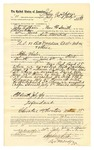 1889 July 30: Voucher, to John Aspain, of Fort Smith, Arkansas, for assisting Charles Barnhill, deputy marshal, in U.S. v. Bill Davidson et al., introducing and selling liquor; Stephen Wheeler, commissioner; I.M. Dodge, deputy clerk; Jacob Yoes, U.S. marshal; David Cole, Joe Crop, M. Ridgeway, Cooper Surrath, arrested