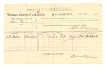 1889 July 11: Voucher, U.S. v. William Romaine, larceny; D.W. Wallace, witness; Stephen Wheeler, commissioner; Jacob Yoes, U.S. marshal; includes cost of per diem and mileage