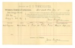 1889 July 11: Voucher, U.S. v. Bob Cox, larceny; D. Sizemore, witness; Jacob Yoes, U.S. marshal; James Brizzolara, commissioner; includes cost of per diem and mileage