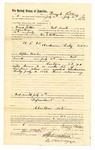 1889 July 29: Voucher, to Frank Patton, of Fort Smith, Arkansas, for assisting George E. Williams, deputy marshal, in U.S. v. Anderson Coley, introducing and selling spiritous liquor; Stephen Wheeler, commissioner; I.M. Dodge, deputy clerk; Jacob Yoes, U.S. marhsal