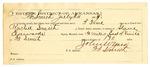 1889 July 24: Voucher, U.S. v. Captain Fish and Rachel Smith, contempt; Steven Edwards, deputy marshal; Jacob Yoes, U.S. marshal; John W. Yoes, guard; I.C. Parker, commissioner; Stephen Wheeler, clerk; I.M. Dodge, deputy clerk; includes cost of mileage and feeding prisoner