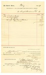 1889 August 2: Voucher, to Sengel Hardward Co.; includes cost for scrub brushes, staples, hinges, shackles, and hand cuffs; S.A. Williams, chief deputy; Stephen Wheeler, clerk; I.M Dodge, deputy clerk; E. Haglin, secretary; Jacob Yoes, U.S. marshal