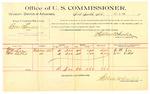 1889 October 9: Voucher, U.S. v. Boas Srincoe, introducing spirtuous liquors; D.M. Lee, William Bethel, witnesses; Jacob Yoes, U.S. marshal; Stephen Wheeler, commissioner; includes cost of per diem and mileage