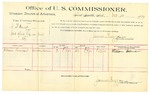 1889 October 10: Voucher, U.S. v. A.B. Ward, introducing spiritous liquor; William Foreman, witnesses; James Brizzolara, commissioner; Jacob Yoes, U.S. marshal; includes cost of per diem and mileage