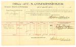 1889 October 10: Voucher, U.S. v. Ben Jackson, larceny; S.V. Harris, Mase Vincent, Cudge Barnett, witnesses; Jacob Yoes, U.S. marshal; Stephen Wheeler, commissioner; includes cost of per diem and mileage