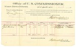1889 October 15: Voucher, U.S. v. Loony Coon, introducing spirtuous liquors; Joseph Dirteater, Jesse Lindsey, witnesses; Jacob Yoes, U.S. marshal; Stephen Wheeler, commissioner; includes cost of per diem and mileage