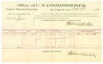 1889 October 16: Voucher, U.S. v. Austin James; Louis Sinnett, witnesses; Jacob Yoes, U.S. marshal; Stephen Wheeler, commissioner; includes cost of per diem and mileage