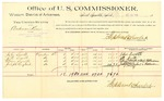 1889 October 18: Voucher, U.S. v. Anderson Keen, assault with intent to kill; John Smith, J.D. Smith, Eliza Smith, Joseph England, witnesses; Jacob Yoes, U.S. marshal; Stephen Wheeler, commissioner; includes cost of per diem and mileage