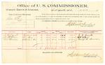 1889 October 19: Voucher, U.S. v. Ben Ellis, larceny; J.G. Combs, A.H. Wilson, G.W. Morrison, witnesses; Jacob Yoes, U.S. marshal; Stephen Wheeler, commissioner; includes cost of per diem and mileage