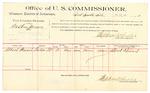 1889 October 21: Voucher, U.S. v. Austin James, larceny; Albert Stewart, witnesses; Jacob Yoes, U.S. marshal; Stephen Wheeler, commissioner; includes cost of per diem and mileage