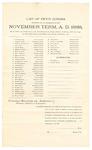 1889 November 4: Venire facias, commanding the summons of John Armstrong, Stephen P. Brock, Wilson R. Batchelder Jr., John G. Bell, John M. Black, Quinton D. Beesley, Hardy M. Banks, William J. Bollinger, Isaac C. Chidester, William B. Duncan, Thomas J. Daniel, Washington W. Davis, Mansfield Durham, James M. Ford, John S. Fields, Otis E. Gulley, Edward P. Hall, Samuel W. Harmon, John F. Joplin, William E. Key, James M. Kayler, Jesse M. King, Joseph Massingdale, James O'Neil, Theodore Ober, Nelson A. Pope, William C. Raper, Joel P. Robinson, Henry E. Rowe, Albert Smith, Isaac S.C. Satterwhite, Everett Station, Henry Scott, Stephen Straub, John White, William A. Walkins, Manville B. Young, William Malone, John W. Woods, as petit jurors; Stephen Wheeler, clerk