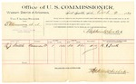 1889 October 2: Voucher, U.S. v. E. Clenmore et al., introducing spirtuous liquors; R.J. Smith, witnesses; Jacob Yoes, U.S. marshal; Stephen Wheeler, commissioner; includes cost of per diem and mileage