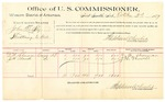 1889 October 2: Voucher, U.S. v. John D. Fly, threatening to kill; D.M. Sherman, J.H. Howell, witnesses; Jacob Yoes, U.S. marshal; Stephen Wheeler, commissioner; includes cost of per diem and mileage