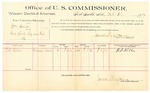1889 October 4: Voucher, U.S. v. William Amos, introducing spiritous liquor; R.S. Keller, witness; Jacob Yoes, U.S. marshal; James Brizzolara, commissioner; includes cost of per diem and mileage