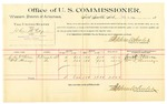 1889 October 8: Voucher, U.S. v. John McCoy, introducing spirtuous liquors; John T. Wilson, William T. Harnage, witnesses; Jacob Yoes, U.S. marshal; Stephen Wheeler, commissioner; includes cost of per diem and mileage