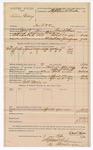 1890 April 7: Voucher, U.S. v. Lewis Gray, introducing spiritous liqour; includes cost of lodging, horse feed, and feeding one prisoner; Grant Johnson, deputy marshal; Robert Morris, posse comitatus; Stephen Wheeler, commissioner; Jacob Yoes, U.S. marshal; J.M. Dodge, deputy clerk
